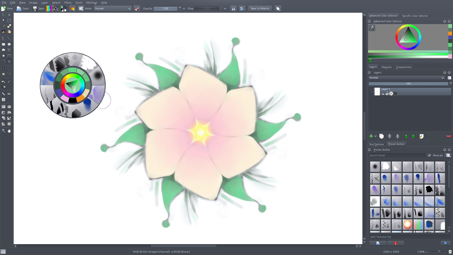 New brush engine mode in Krita: blend like in Mypaint